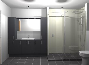 Side view of a CAD bathroom